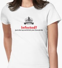 Infected? Dark Text Women's Fitted T-Shirt