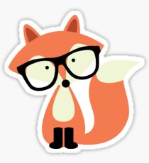 Cute Hipster Red Fox Sticker
