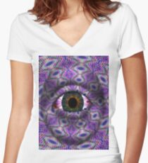 Psychedelic evil eye   Women's Fitted V-Neck T-Shirt