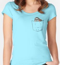 Sloth in a pocket Women's Fitted Scoop T-Shirt