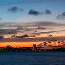 Sunset Behind the Sydney Opera House and Harbour Bridge by Martin Pot