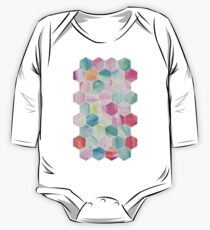 Pretty Pastel Hexagon Pattern in Oil Paint One Piece - Long Sleeve