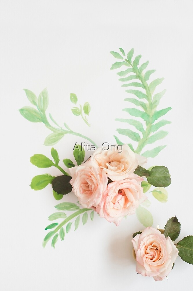 Watercolor and roses by Alita  Ong