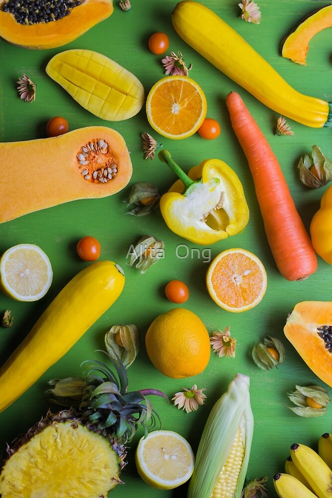 Yellow food on green by Alita  Ong