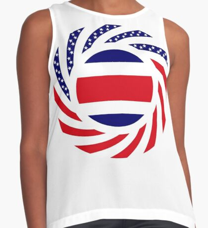 Costa Rican American Multinational Patriot Flag Series Sleeveless Top