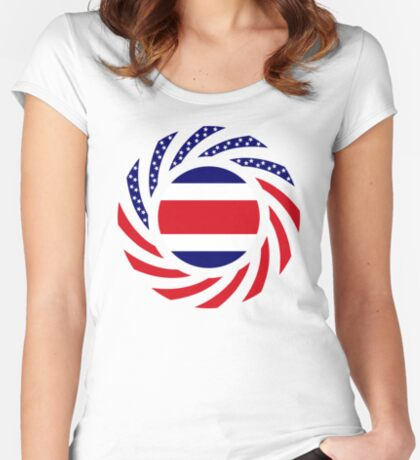 Costa Rican American Multinational Patriot Flag Series Fitted Scoop T-Shirt