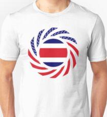 Costa Rican American Multinational Patriot Flag Series Slim Fit T-Shirt