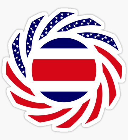 Costa Rican American Multinational Patriot Flag Series Glossy Sticker