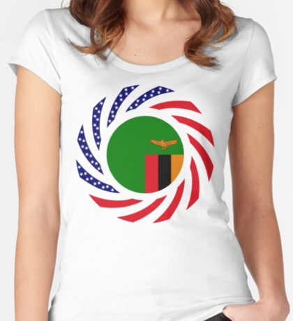 Zambian American Multinational Patriot Flag Series Fitted Scoop T-Shirt