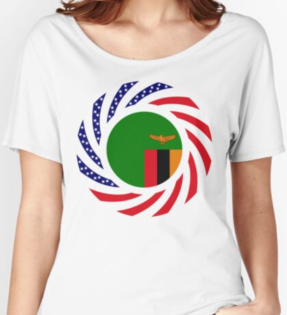 Zambian American Multinational Patriot Flag Series Relaxed Fit T-Shirt