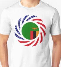Zambian American Multinational Patriot Flag Series Slim Fit T-Shirt