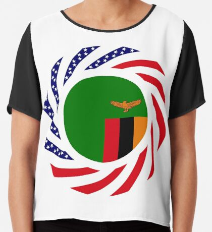 Zambian American Multinational Patriot Flag Series Chiffon Top
