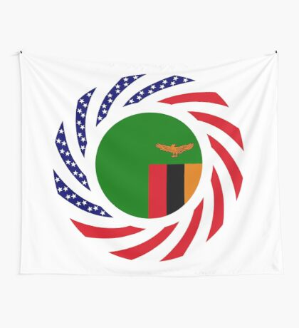 Zambian American Multinational Patriot Flag Series Wall Tapestry