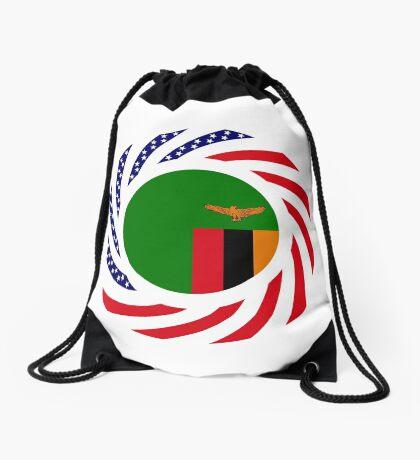 Zambian American Multinational Patriot Flag Series Drawstring Bag