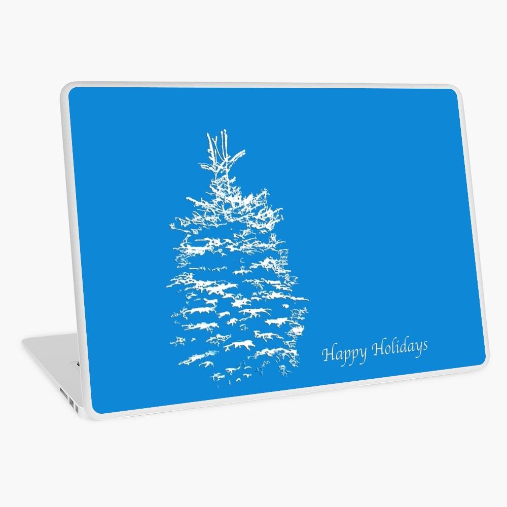 Blue Happy Holidays Laptop Folie