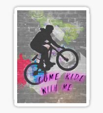 Come ride with me, wall graffiti image of a bicycle stunt  Sticker