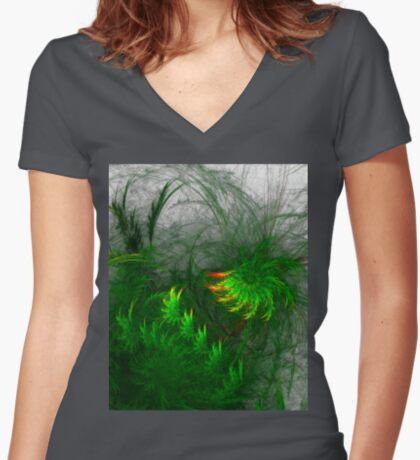 Jungle #fractal art Fitted V-Neck T-Shirt