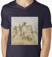 A series of Rabbits at a party by Beatrix Potter Mens V-Neck T-Shirt