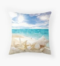 Seashells on the Beach Throw Pillow