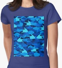 Handy Camo BLUE Womens Fitted T-Shirt
