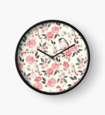 Watercolor floral background with cute bird /2 Clock