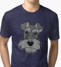 Adorable Miniature Schnauzer Tri-blend T-Shirt