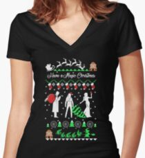 Oncer Ugly Christmas Sweatshirt Women's Fitted V-Neck T-Shirt