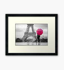 red umbrella in rainy paris Framed Print