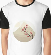 Oriental Japanese Mountain View Graphic T-Shirt