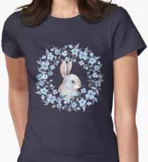 Rabbit and floral wreath Womens Fitted T-Shirt