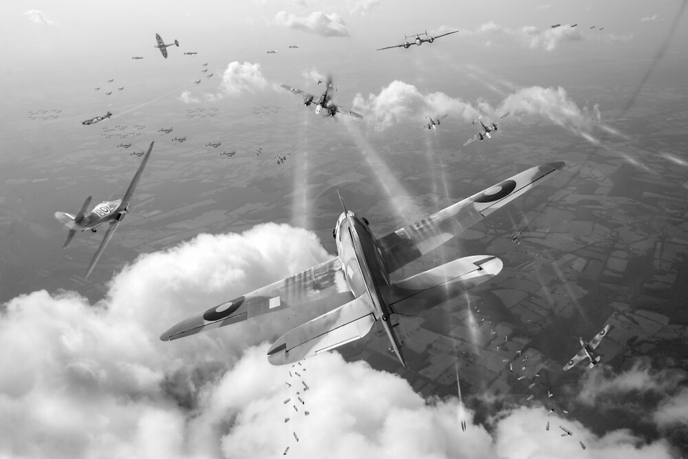 Headlong attack (Hurricanes over Weymouth) black and white version by Gary Eason