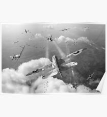 Headlong attack (Hurricanes over Weymouth) black and white version Poster