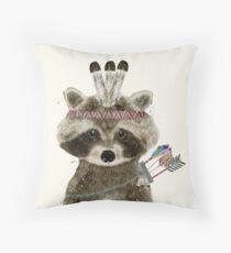 little raccoon brave Throw Pillow