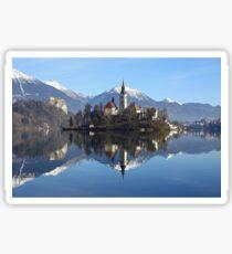 Church on island at Lake Bled Slovenia Sticker