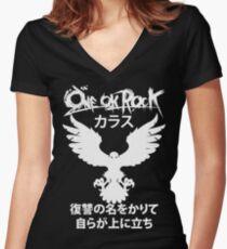 Camiseta entallada de cuello en V Karasu (カ ラ [) [Blanco]