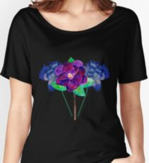Blue and Purple Flowers Watercolo Painting Women's Relaxed Fit T-Shirt