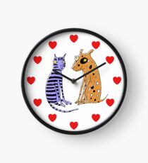 Opposites Attract Cat and Dog Clock