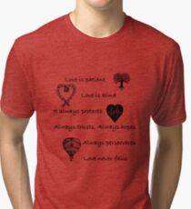 Love is patient...(with hearts) Tri-blend T-Shirt