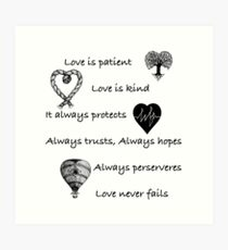 Love is patient...(with hearts) Art Print