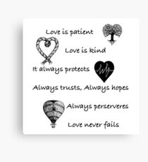 Love is patient...(with hearts) Canvas Print