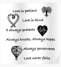 Love is patient...(with hearts) Poster