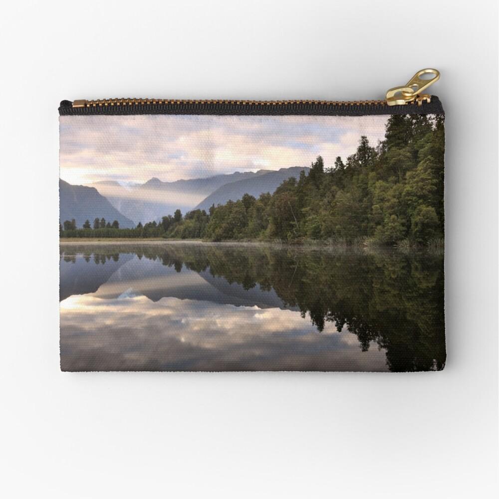 Lake Matheson Dawn, South Island, New Zealand Zipper Pouch