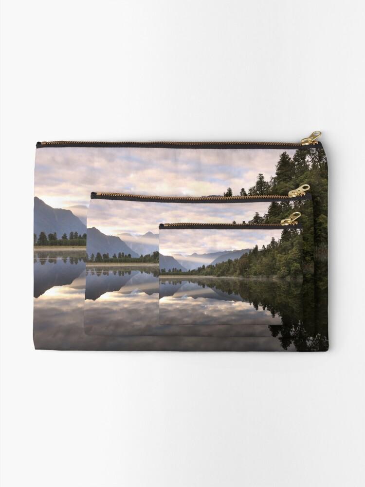 Alternate view of Lake Matheson Dawn, South Island, New Zealand Zipper Pouch