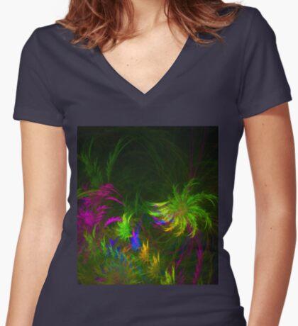 Jungle #fractal art 2 Fitted V-Neck T-Shirt