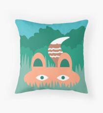 Hide and Seek Fox Illustration Throw Pillow