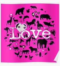 Love All Creatures - Black Silhouettes on Fuschia Poster