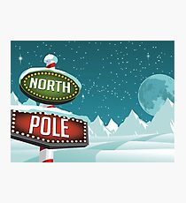 North Pole sign in a snowy Christmas scene. Photographic Print