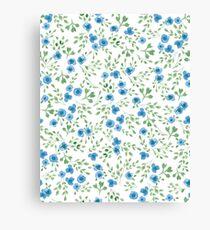 Prairie Flowers Watercolor Blue Green Rustic Canvas Print