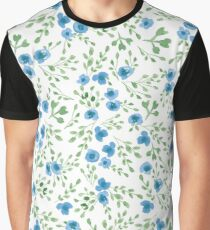Prairie Flowers Watercolor Blue Green Rustic Graphic T-Shirt