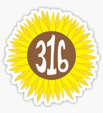 Hand Drawn Kansas Sunflower 316 Area Code Sticker